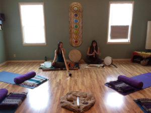 Sara Bassindale, Audrya Chancellor, Alchemy of Breath & Sound Healing, drums, didgeridoos flutes, earth chimes, yoga shine mendocino